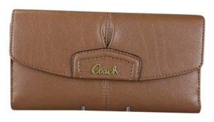 Coach * Coach Ashley Brown Leather Check Book Wallet F48062