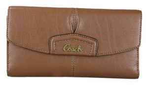 Coach * Ashley Leather Check Book Wallet F48062 - Saddle (Brown)