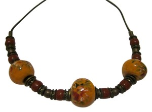 HAND PAINTED CERAMIC BEAD NECKLACE