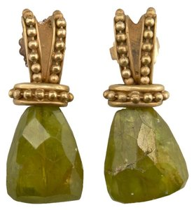Other Stylish Green Gemstone & Gold-tone Caviar Earrings (570300