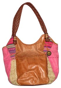 The Sak Patchwork Boho Bohemian Weaved Ethnic Leather Bucket Tote in Brown