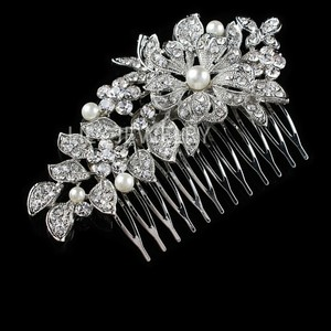 Nib Bridesmaid Bride Mom Vine Leaf Classy Vtg Flower Bling Diamond Fresh Water Pearl Piece Accessories Hair Comb