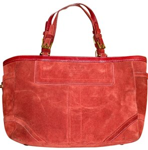 Coach Chic Suede Tote in Red