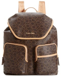 06fbbfeef12 Calvin Klein Hudson Monogram Brown Leather/Synthetic Backpack - Tradesy