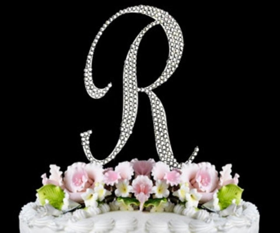 wedding cake topper letter r large rhinestone monogram letter r wedding cake 26350