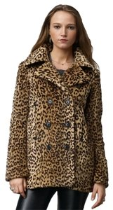 Ralph Lauren Nwt Denim Supply Leopard Faux Fur Pea Pea Coat