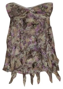 Diane von Furstenberg Bronze Sequins Silk Top multi colored