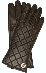 Michael Kors MICHAEL KORS BLACK LEATHER GLOVES QUILTED