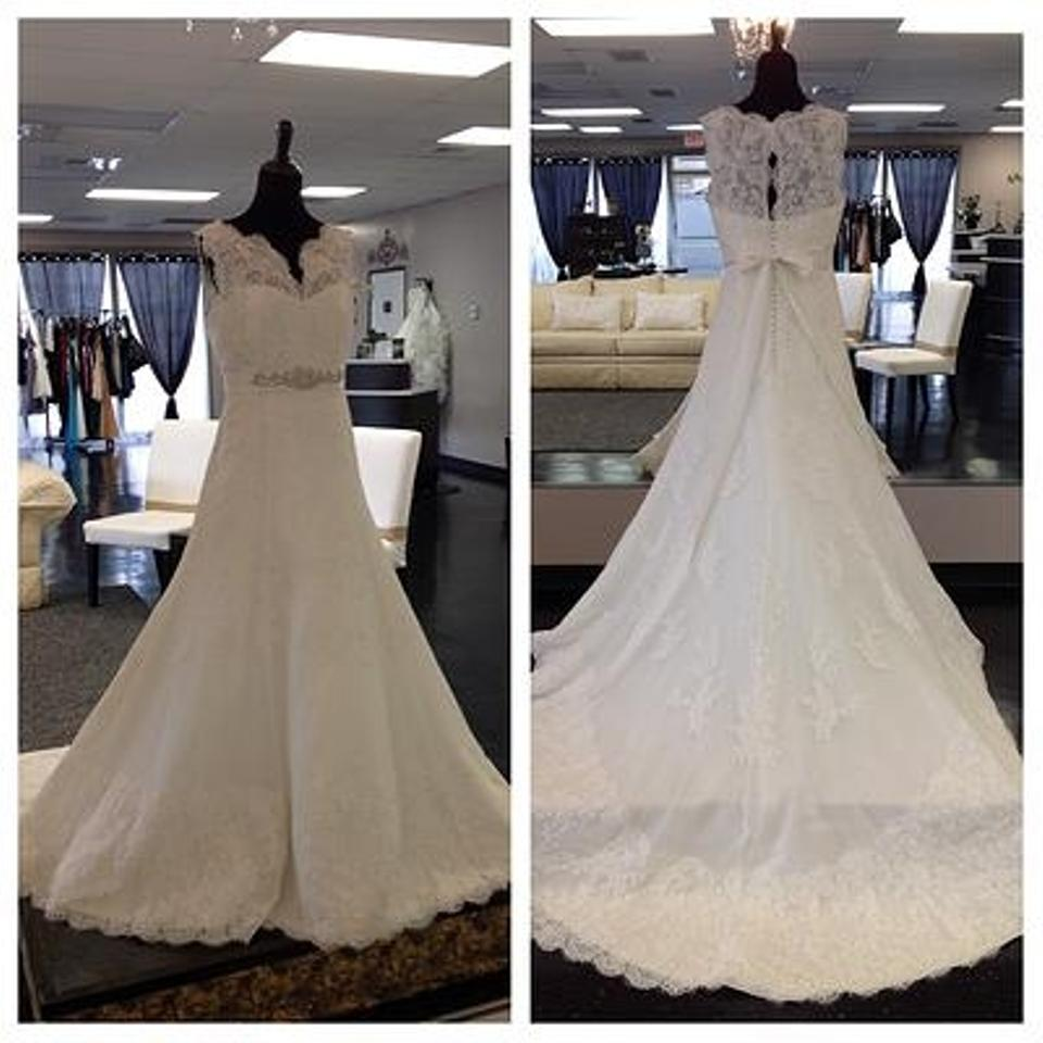 clearance sale no sale tax super cute Eggshell White Lace Tulle Amman Modest Wedding Dress Size 10 (M) 78% off  retail