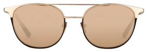 Linda Farrow Luxe Linda Farrow (421) Couture Aviator Sunglasses, Titanium with 22K Gold