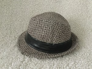 Other Grey suede fedora hat with black leather strip