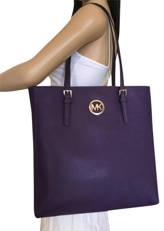 6cca6563542b Michael Kors Travel North South Brown Logo Tote in Violet Purple Image 0 ...