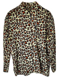 Silk Icon Animal Print Button Down Shirt leopard