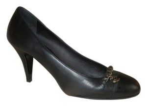 Chanel Leather Emblem Black Pumps