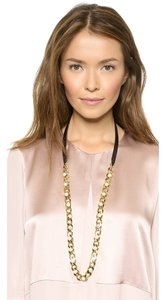 Tory Burch NEW Tory Burch Leather Pearl Gold Chain Long Necklace BRAND NWT!