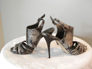 Steve Madden Vegan Python Luxe Ankle Cuff Multi,/tan/gray/brown Sandals