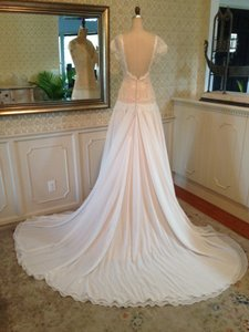 Sexy Low Back Lace Sleeves Chiffon (brand New Never Worn) Ivory Nude Wedding Dress