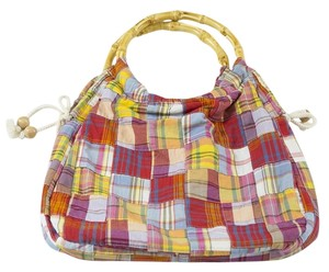 J.Crew Madras Plaid Bamboo Hobo Bag