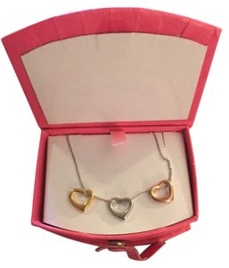 Gold, Silver and Copper Heart Necklace