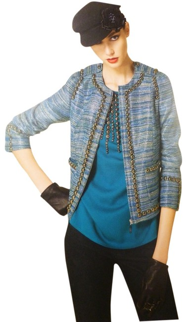 Item - Multi-color Couture Ultramarine with Beaded Trim Jacket Size 2 (XS)