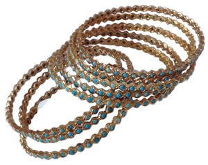 Jennifer Miller Jewelry Jennifer Miller turquoise and gold bangle bracelets