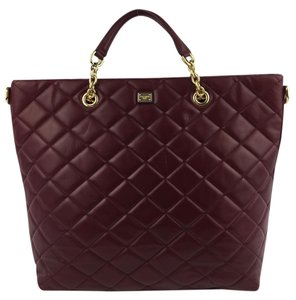Dolce&Gabbana Quilted Leather Tote in Dark Red
