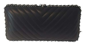 Chanel Chevron Quilted Black Clutch