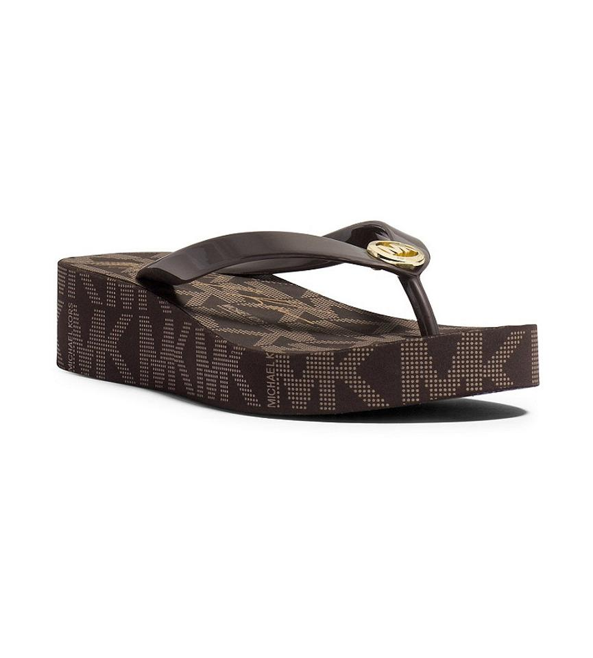 436473d36c856 Michael Kors Brown Bedford Platform Flip Flops Sandals Size US 8 Regular  (M