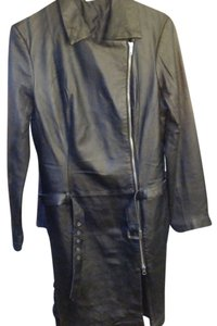 Newport News Long Leather Leather Jacket