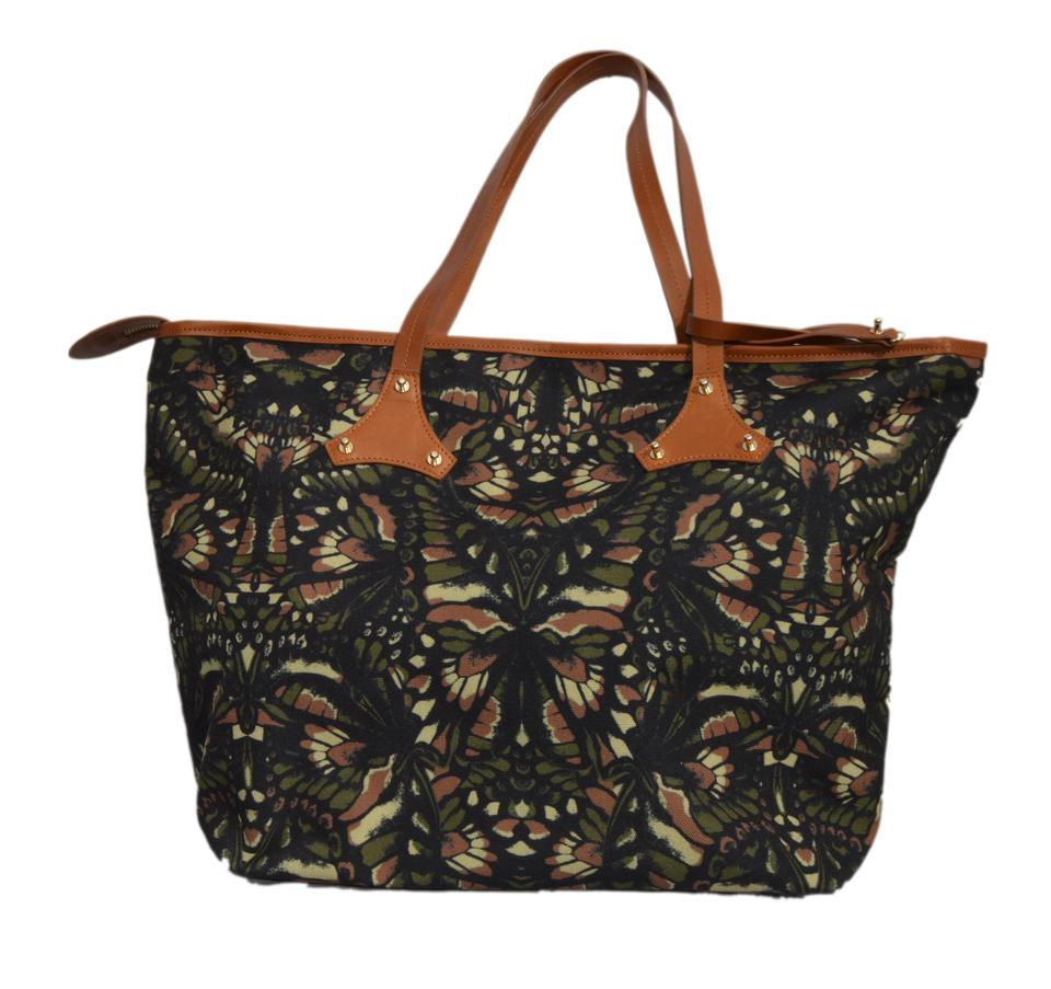 Alexander Mcqueen Purse Navy Green Brown Leaf Pattern Cotton Shoulder Bag