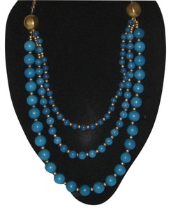 Lydell NYC LYDELL N.Y.C BLUE AND GOLD PEARL NECKLACE 17'' LONG