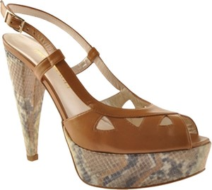 Bruno Magli Snakeskin Sling Back Peep To Tan Platforms
