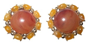 Other Vintage Ciner Faux Amber Cluster Button Gold Tone Clip Earrings SIGNED --Superb!