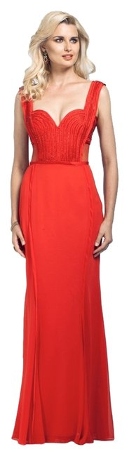 Item - Red Vm1536 Sheer Illusion Low Back Gown 2015 Long Formal Dress Size 6 (S)