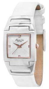 Kenneth Cole w/BONUS*-White Embossed Leather Strap Watch