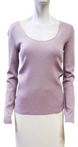 St. John New Light Long Sleeve Sweater Knit Platinum Wheat Ultra Sweatshirt