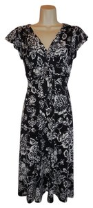 Evan Picone Knit Career Work Black White Floral Dress