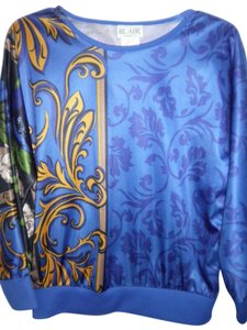 Blair Print Solid Stretch Trim Easy Care Poly Like New Condition Top Blues & Gold