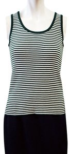 St. John New Tags White Size Small Size 2 Size 4 Fine Gauge Ribbed Scoop Shell Top Emerald, White