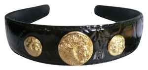 Women Black Faux Patent Leather Fashion Headband Three Gold Lions Top Coins