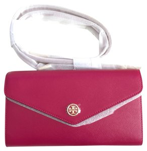 Tory Burch Robinson Robinson Kira Kira Saffiano Saffiano Leather Leather Chain Chain Wallet Wallet Clutch Clutch New New Gold Gold Cross Body Bag