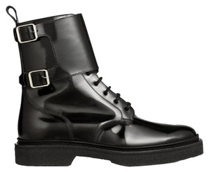 Balmain x H&M Mens Men Men's Monogram Leather Patent Unisex Paris High Military Black Boots