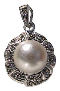 Other Sterling Silver Faux Pearl Marcasite Pendant