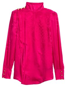 Balmain x H&M Silk Rare Paris France Gold Top pink