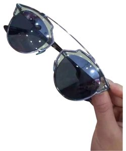Dior So Real 48mm Silver Mirrored Sunglasses Transparent Light Blue/Aqua Silver