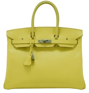 Hermès Hermes Birkin Leather Tote in Yellow w/ Palladium Hardware