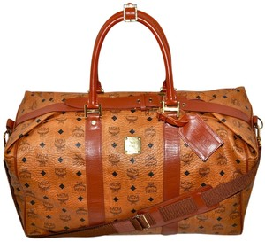 MCM Modern Creation Munich Modern Creation Munchen Visetos Visetos Pattern Made In Germany German Designer Duffle Duffel Brown Travel Bag