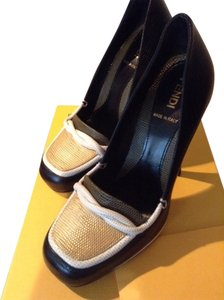Fendi Mustard yellow and black and white Pumps