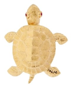 Turtles head moves -14k Yellow gold articulated turtle pin with ruby eyes