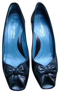 Via Spiga High Heel Open Toe Bow Trim Black Pumps